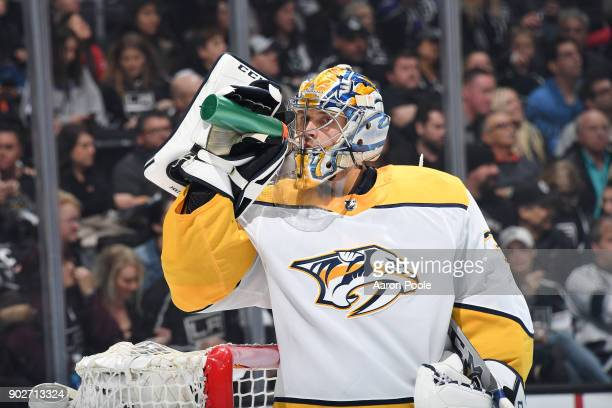 Pekka Rinne of the Nashville Predators takes a water break during a game against the Los Angeles Kings at STAPLES Center on January 6 2018 in Los...