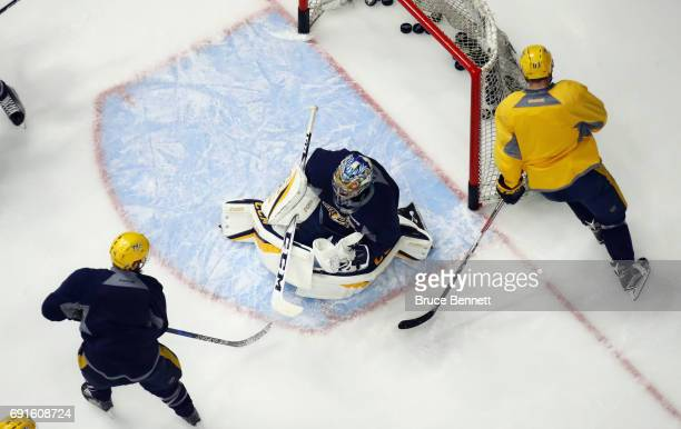Pekka Rinne of the Nashville Predators takes part in a practice session during the 2017 NHL Stanley Cup Finals at Bridgestone Arena on June 2 2017 in...