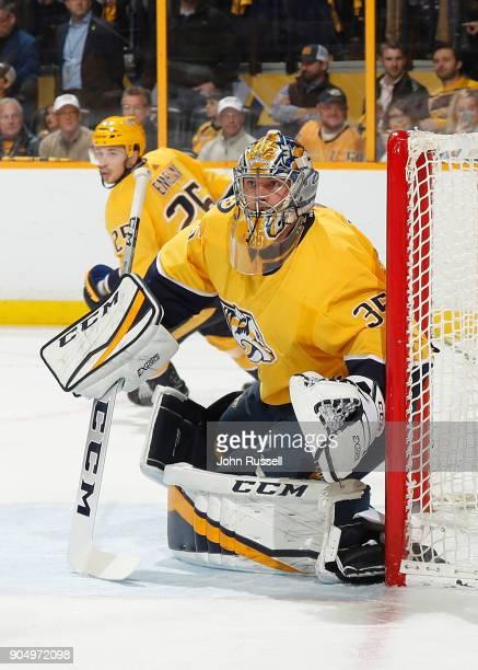 Pekka Rinne of the Nashville Predators tends net against the Edmonton Oilers during an NHL game at Bridgestone Arena on January 9 2018 in Nashville...