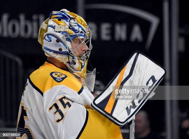 Pekka Rinne of the Nashville Predators tends net in the second period of a game against the Vegas Golden Knights at TMobile Arena on January 2 2018...