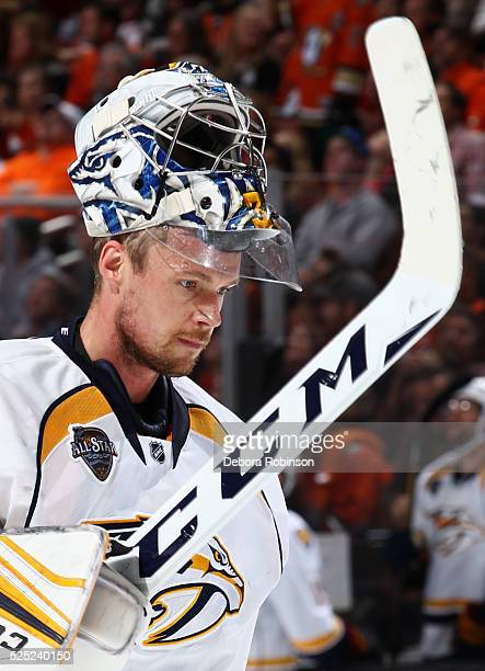 Pekka Rinne of the Nashville Predators waits to resume play in Game Seven of the Western Conference First Round against the Anaheim Ducks during the...