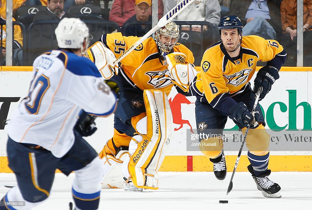 Pekka Rinne #35 skates to the bench to add an attacker as Shea Weber #6 of the Nashville Predators skates against the St. Louis Blues during an NHL game at the Bridgestone Arena on April 9, 2013 in Nashville, Tennessee.