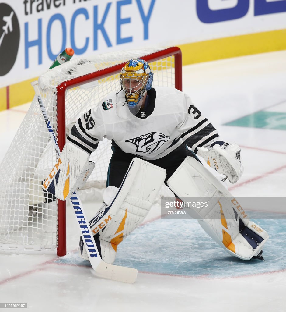 quality design d4352 95fa2 Pekka Rinne takes part in the 2019 NHL All-Star Game at the ...