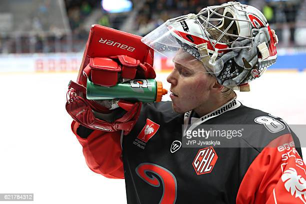 Pekka Tuokkola of Jyvaskyla drinks during the power break in the second period of Champions Hockey League Round of 16 match between JYP Jyvaskyla and...