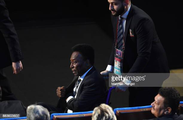 Pelé arrives during the Final Draw for the 2018 FIFA World Cup Russia at the State Kremlin Palace on December 1 2017 in Moscow Russia