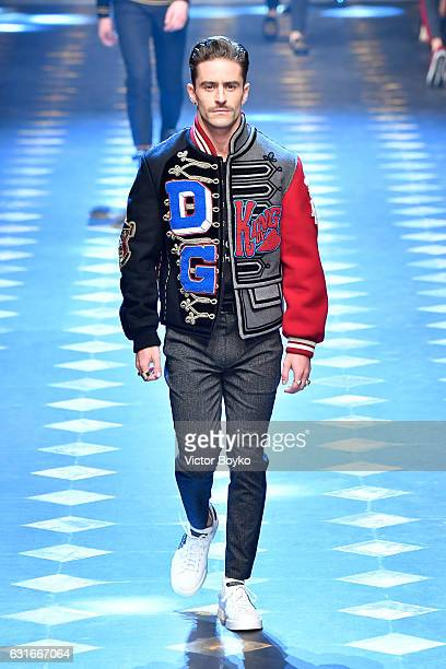 Pelayo Díaz walks the runway at the Dolce Gabbana show during Milan Men's Fashion Week Fall/Winter 2017/18 on January 14 2017 in Milan Italy
