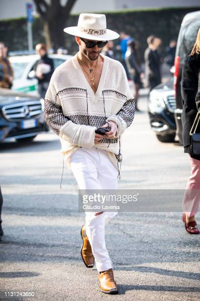 Pelayo Diaz is seen outside Emporio Armani on Day 2 Milan Fashion Week Autumn/Winter 2019/20 on February 21, 2019 in Milan, Italy.