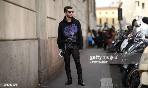 Pelayo Diaz is seen wearing a Etro x Star Wars sweater before Etro during Milan Fashion Week Fall/Winter 2020-2021 on February 21, 2020 in Milan,...