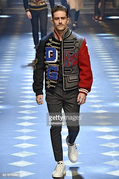 Pelayo Diaz walks the runway at the Dolce Gabbana Autumn Winter 2017 fashion show during Milan Menswear Fashion Week on January 14 2017 in Milan Italy