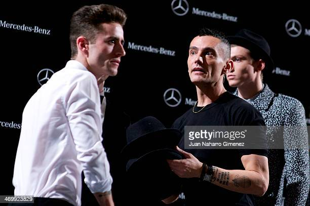 Pelayo Diaz Zapico and David Delfin are seen at the backstage before a fashion show during the Mercedes Benz Fashion Week Winter/Fall Madrid 2014 at...