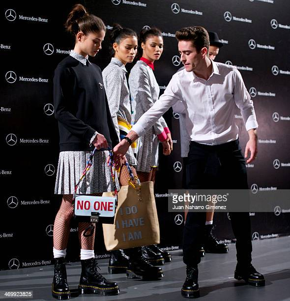 Pelayo Diaz Zapico prepare backstage during a fashion show during the Mercedes Benz Fashion Week Winter/Fall Madrid 2014 at Ifema on February 17 2014...