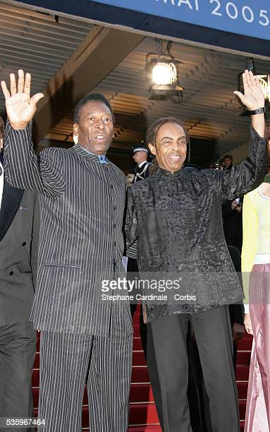 Pele and Gilberto Gil attend the premiere of Peindre ou Faire l'Amour in competition at the 58th Cannes Film Festival