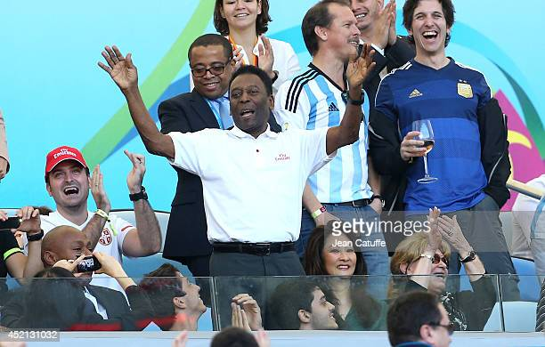 Pele and his girlfriend Marcia Cibele Aoki attend the 2014 FIFA World Cup Brazil Final match between Germany and Argentina at Estadio Maracana on...
