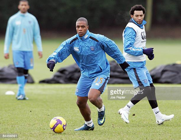 Pele and Jermaine Pennant during Portsmouth FC training session at Eastleigh on January 26 2009 in Portsmouth England