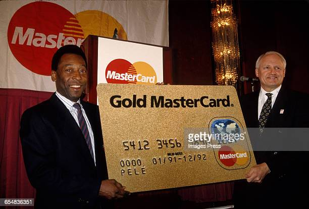 Pele at a Mastercard press conference circa 1992 in New York City
