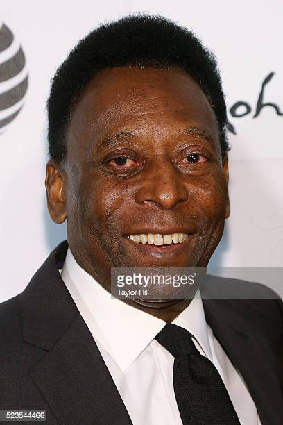Pele attends the premiere of 'Pele Birth of a Legend' at Borough of Manhattan Community College during the 2016 Tribeca Film Festival on April 23...