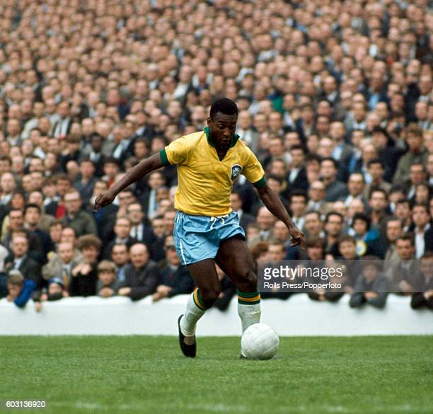 Pele in action for Brazil during the FIFA World Cup match between Brazil and Bulgaria at Goodison Park in Liverpool 12th July 1966 Brazil won 20