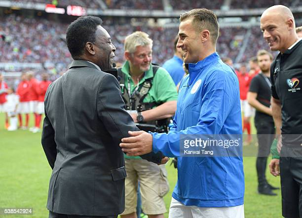 Pele meets Fabio Cannavaro during Soccer Aid 2016 at Old Trafford on June 5, 2016 in Manchester, United Kingdom.
