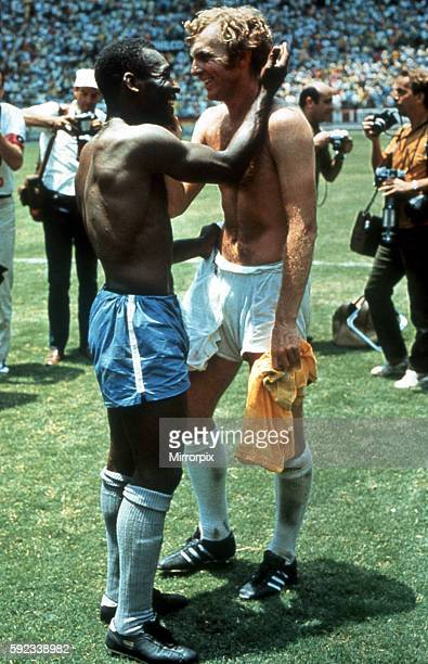 Pele of Brazil and Bobby Moore of England exchange shirts after the World Cup Group C game at the Estadio Jalisco in Guadalajara Mexico 7 Jun 1970...