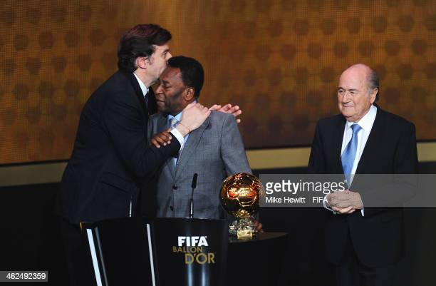 Pele of Brazil gets emotional as he accepts the FIFA Ballon d'Or Prix d'Honneur award from FIFA President Joseph S Blatter and France Football...