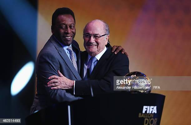 Pele of Brazil is congratulated by FIFA President Joseph S Blatter after receiving the FIFA Ballon d'Or Prix d'Honneur award during the FIFA Ballon...
