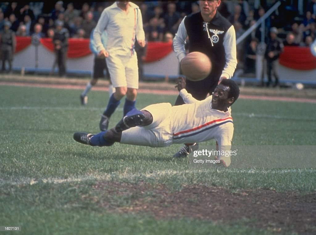 Pele of Brazil scores the equalizing goal for the Allied POW's during the match against Germany in Paris featured in the filming of ''Escape to Victory'' . The match ended in a 4-4 draw. \ Mandatory Credit: Allsport UK /Allsport