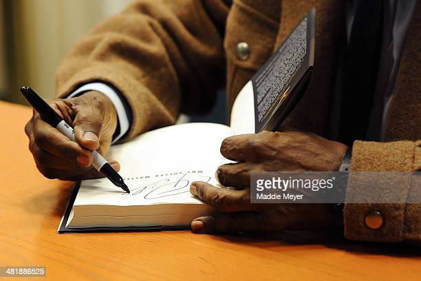 Pele signs copies of his book Why Soccer Matters at Barnes Noble 5th Avenue on April 1 2014 in New York City
