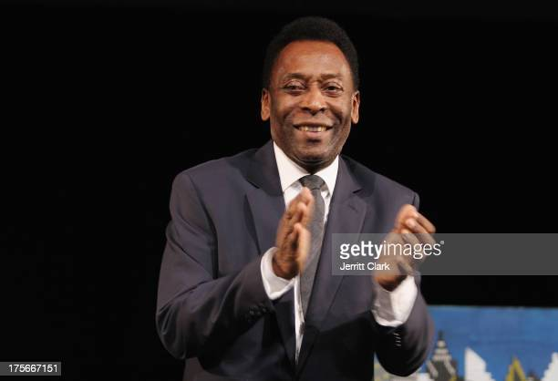 Pele speaks at the New York Cosmos Legends Gala at Gotham Hall on August 1, 2013 in New York City.