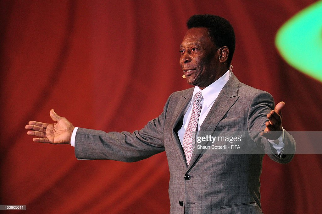 Pele speaks to the audience before the Final Draw for the 2014 FIFA World Cup Brazil at Costa do Sauipe Resort on December 6, 2013 in Costa do Sauipe, Bahia, Brazil.