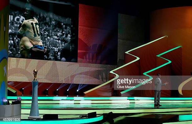 Pele speaks to the audience before the Final Draw for the 2014 FIFA World Cup Brazil at Costa do Sauipe Resort on December 6 2013 in Costa do Sauipe...