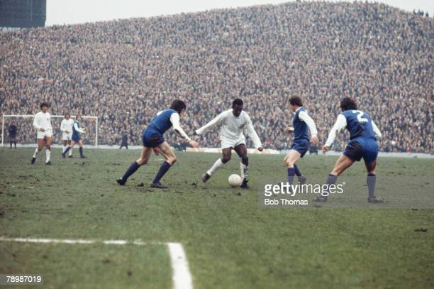 Pele takes on the Sheffield Wednesday defence during a game between Santos and Wednesday at Hillsborough 23rd February 1972