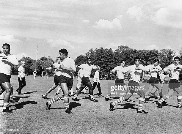 Pele training with his Brazil teammates Gerson Zito Bellini Jair Amarildo Fidelis and Orlando at their training camp at Atvidaberg Sweden