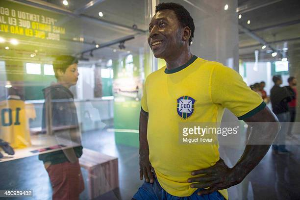 Pele wax statue on display at Pele Museum on June 20 2014 in Santos Brazil The 4000 square meter complex is located in Santo's old town and its...