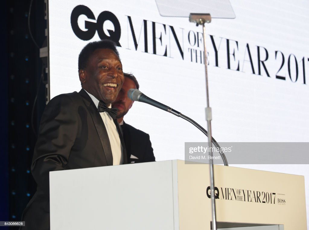 Pele (L), winner of the Inspiration award, and Gareth Southgate attend the GQ Men Of The Year Awards at the Tate Modern on September 5, 2017 in London, England.