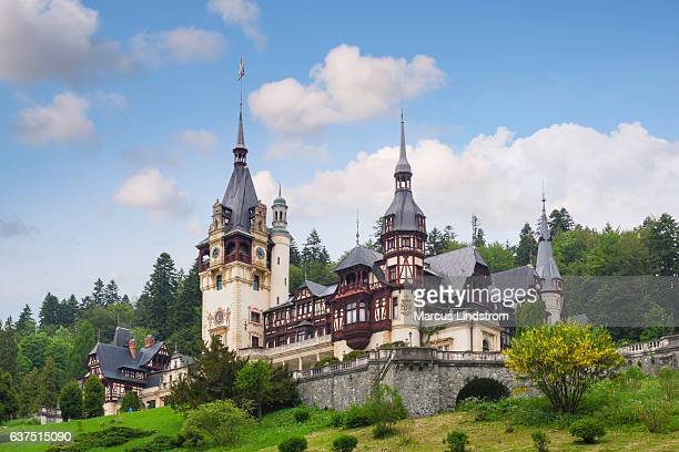 peles castle in summer - transylvania stock pictures, royalty-free photos & images
