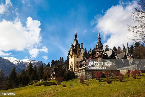 peles castle - rumänien stock-fotos und bilder