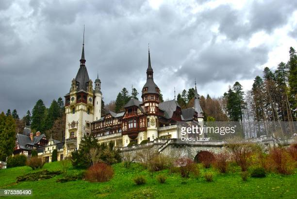 peles castle - transylvania stock pictures, royalty-free photos & images