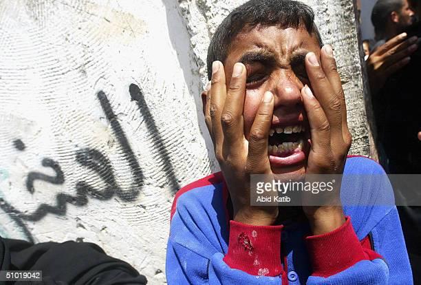 Pelestinian boy mourns her 25 year-old uncle Yassir al-Arja, a scrap dealer from Rafah's Brazil neighborhood, who was shot dead whilst picking...