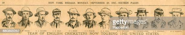 Pelham Warner's England cricket team touring the USA illustrated in the New York Herald on 20th September 1897 Left to right JN Tonge FW Stocks RA...