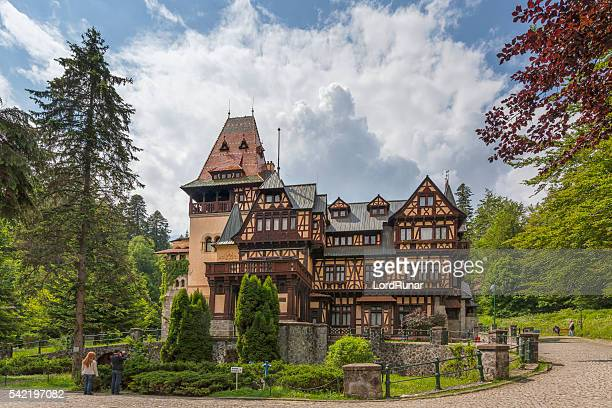 pelisor castle in sinaia - transylvania stock pictures, royalty-free photos & images