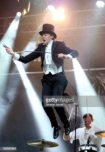Pelle Almqvist and Chris Dangerous of The Hives perform live on the NME Radio 1 Stage during Day One of Reading Festival 2012 at Richfield Avenue on...