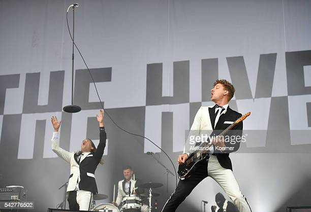 Pelle Almqvist and Nicholaus Arson of the The Hives performs on Green Stage during the first day of the Hurricane festival on June 24 2016 in...