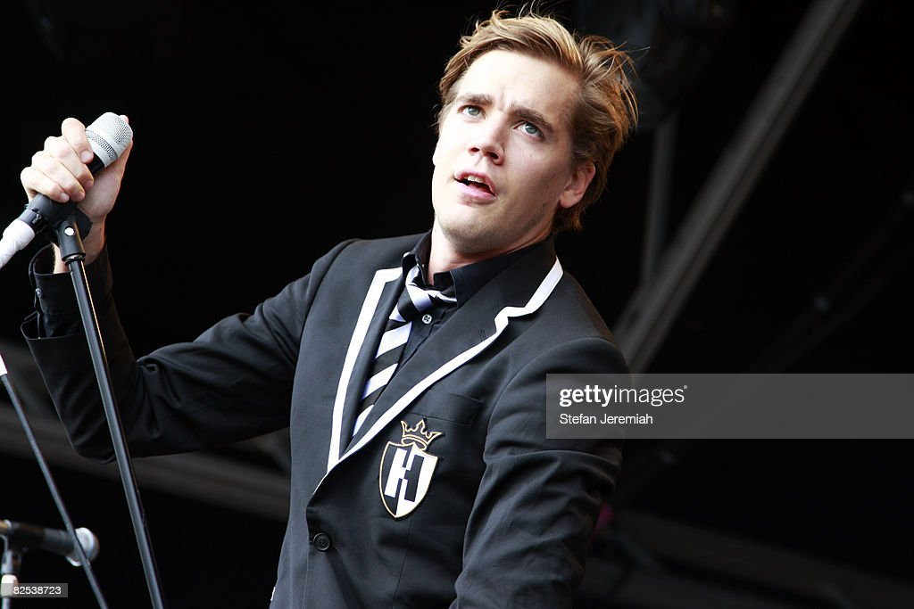 Pelle Almqvist of The Hives performs at Get Loaded in the Park at Clapham Common on August 24, 2008 in London, England.