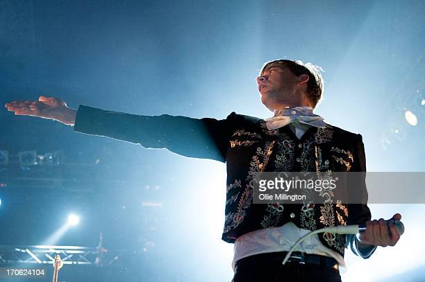 Pelle Almqvist of The Hives performs onstage headlining the Pepsi Max stage on Day 2 of The Download Festival at Donnington Park on June 15 2013 in...