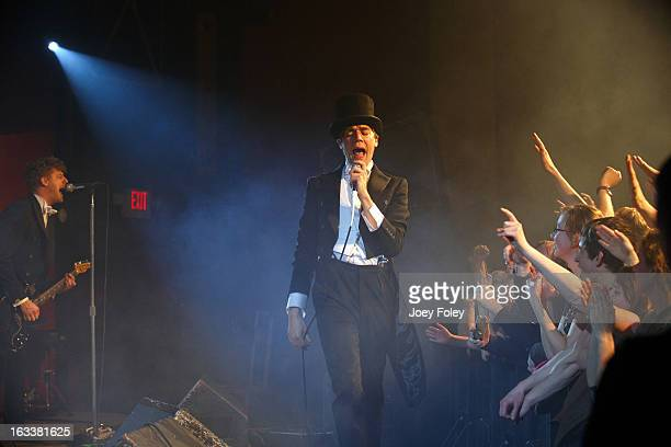 Pelle Almqvist of The Hives performs onstage in concert at The Vogue on March 4 2013 in Indianapolis Indiana