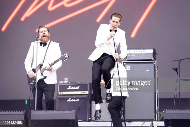 Pelle Almqvist , vocalist of The hives, performs during O Son do Camino Festival on June 15, 2019 in Santiago de Compostela, Spain.
