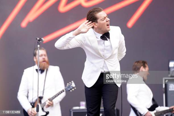 Pelle Almqvist, vocalist of The hives performs during O Son do Camino Festival on June 15, 2019 in Santiago de Compostela, Spain.