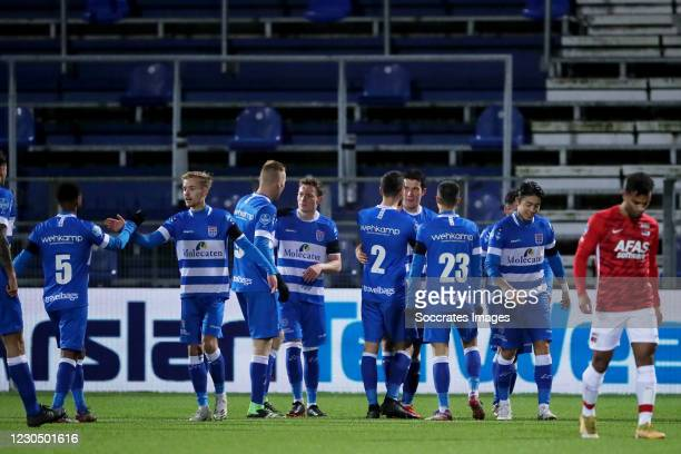 Pelle Clement of PEC Zwolle celebrates 1-0 with team during the Dutch Eredivisie match between PEC Zwolle v AZ Alkmaar at the MAC3PARK Stadium on...