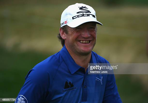 Pelle Edberg of Sweden celebrates a birdie putt on the 9th hole to tie for the lead during day two of the DD Real Czech Masters at Albatross Golf...