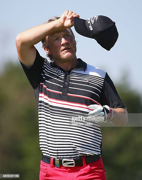 Pelle Edberg of Sweden looks on during day four of the DD Real Czech Masters at the Albatross Golf Resort on August 30 2015 in Prague Czech Republic